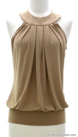 Grecian Pleated Open Back Top-Taupe :  halter top fashion open back dress pleated top